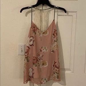 Flower print flowy pink lace tank top